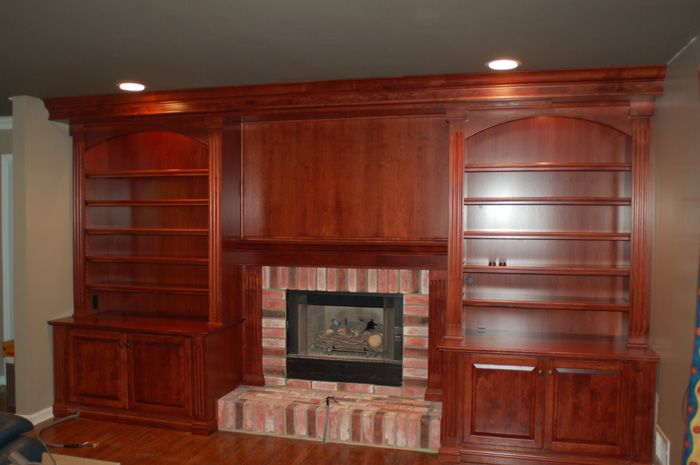 Built In Bookshelves Around Fireplace Custom Fireplace