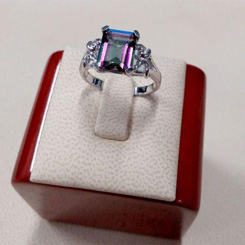 Sterling Silver Ladies Ring Rainbow Mystic Topaz Mystic SRLS5291E RQZ | eBay @ $25.99