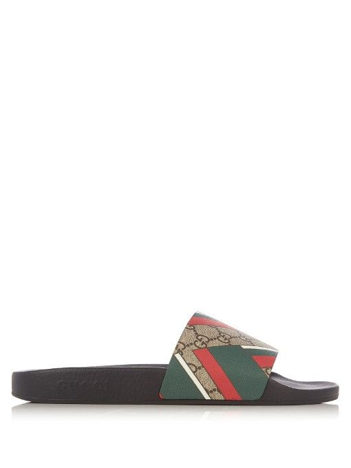 Gucci GG EMBOSSED LEATHER SLIDE SANDALS B1rOCq6