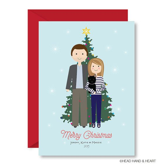 Printable Christmas Card, Christmas Tree Portrait, Custom Portrait, Family Illustration, Custom Holiday Card, Pet Holiday