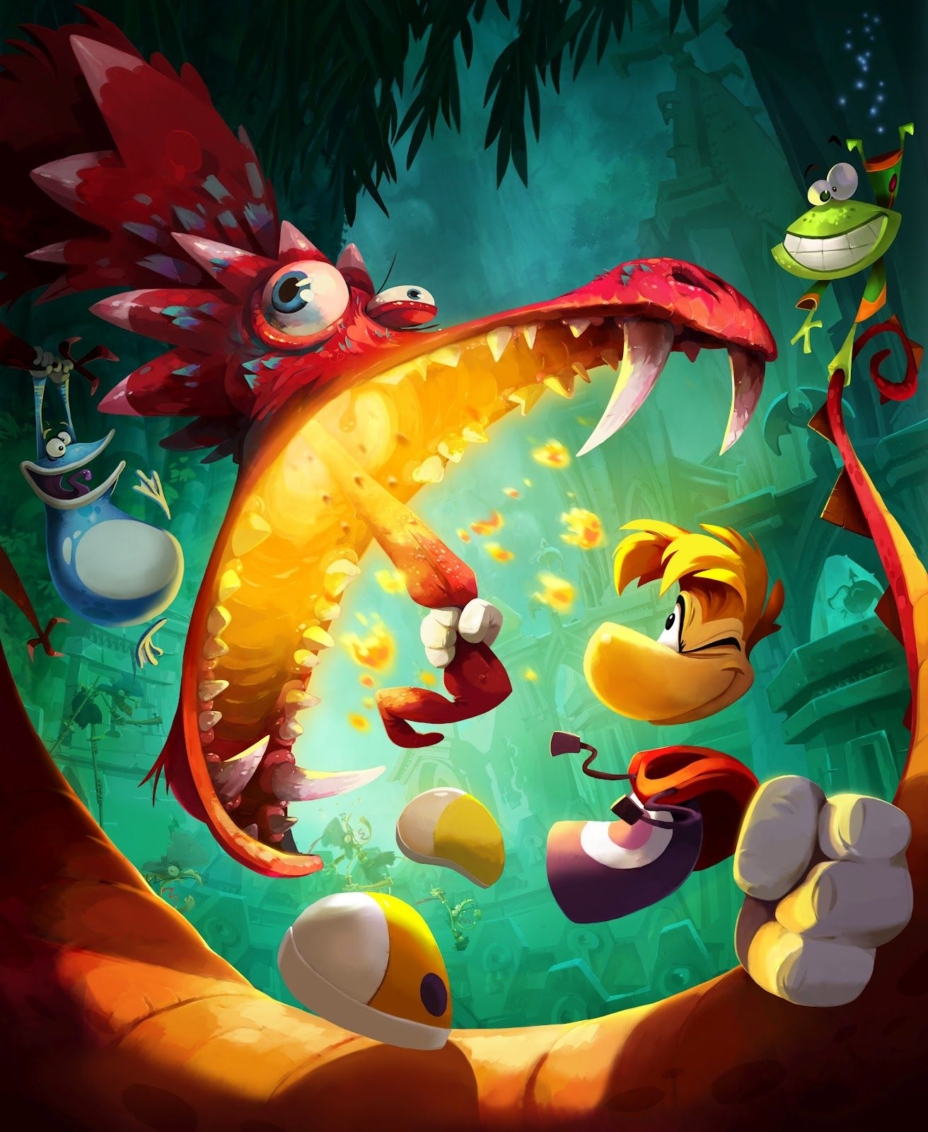 Rayman demonstrates one way to roast sausage links. Oh, sorry, that's the dragon's tongue. Carry on.