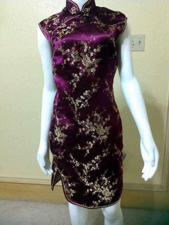 "Silk Cheongsam Dress, Stunning Wine Red and Gold Cheongsam Style Cocktail Dress, Size Small Bust 32""Asian Mandarin Collar Dress"