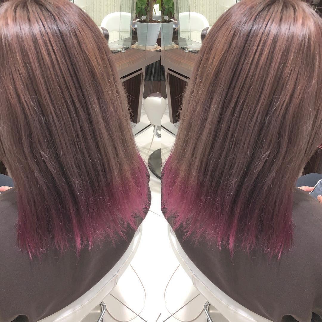 グラデーション ピンクバイオレット ピンク系 金沢 金沢美容師