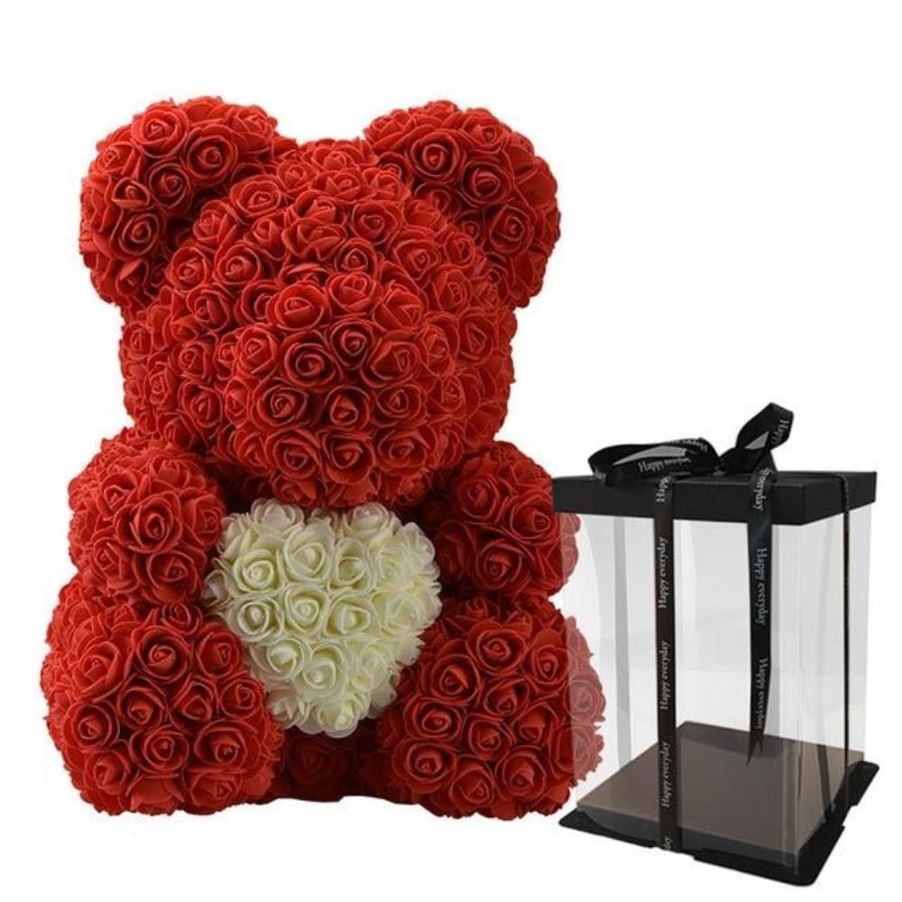 "WR Red Rose Bear Flower Teddy 15/"" In Box Gifts For Wedding Birthday Valentine"