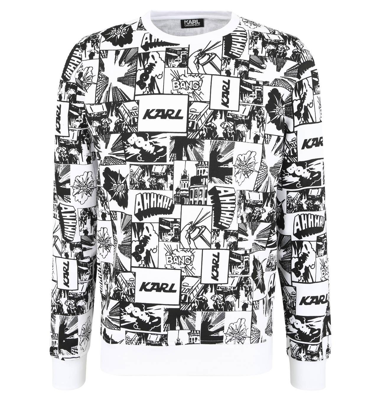 Sweatshirt Comic Print Rundhalsausschnitt Gerippte Bundchen Karl Lagerfeld Herren Sweatshirt Sweatshirt