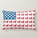 Doxie - Dachshund Patriotic American Flag Lumbar Pillow #americanflagart