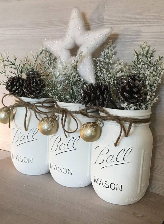 White Christmas Decor White Christmas Mason Jars Christmas Christmas Jars Christmas Mason Jars White Christmas Decor