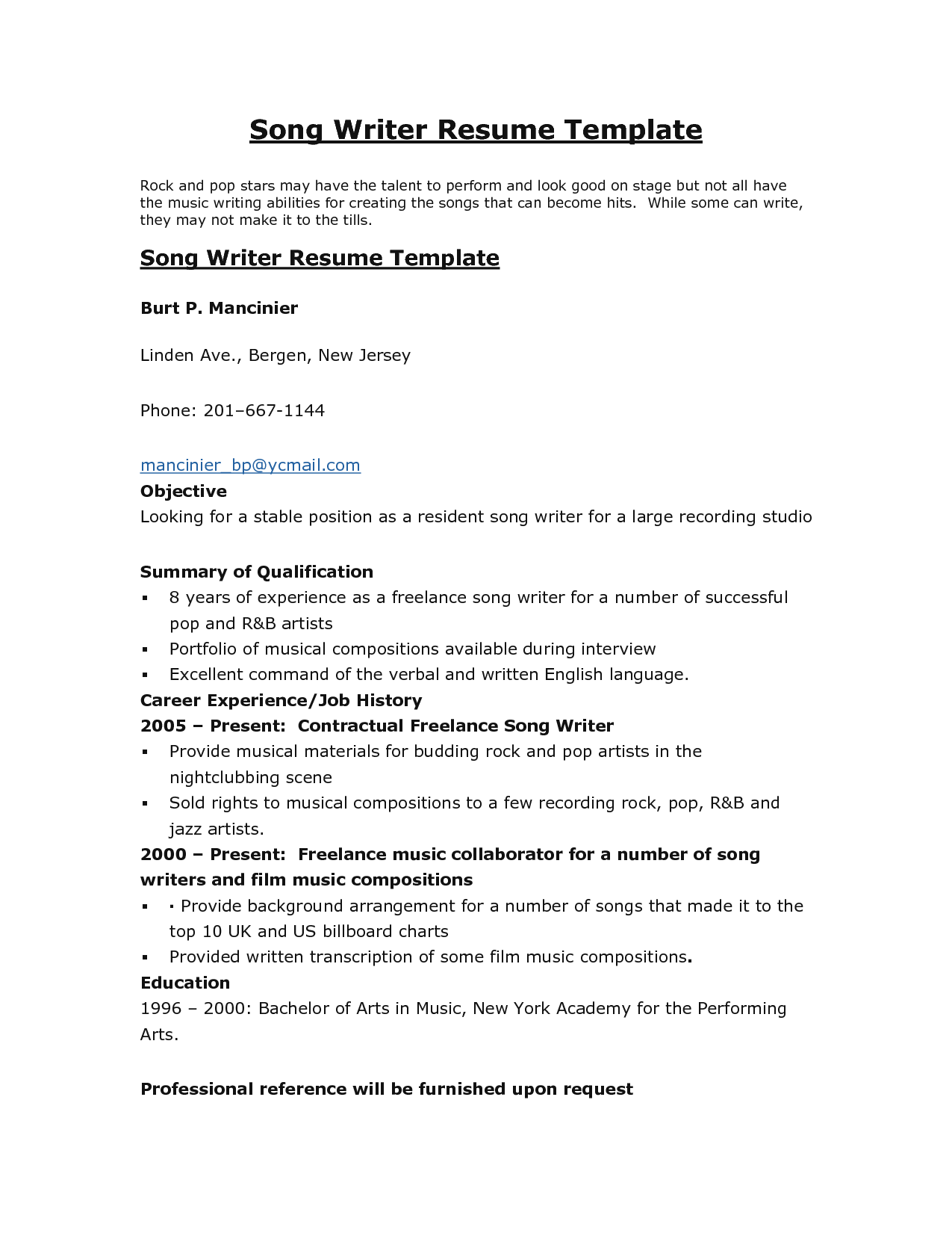 Resume Examples Free Writing Templates Format Samples Song Burt
