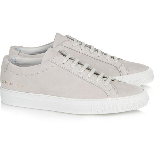 Common Projects Original Achilles suede sneakers (395 CAD) ❤ liked on Polyvore featuring shoes, sneakers, lace up shoes, traction shoes, rubber sole shoes, grip trainer and suede lace up shoes