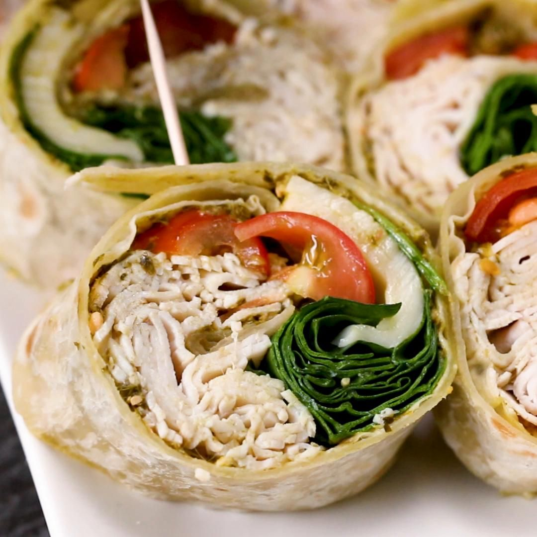 Pesto Turkey Pinwheels Recipe Turkey pinwheels, Food