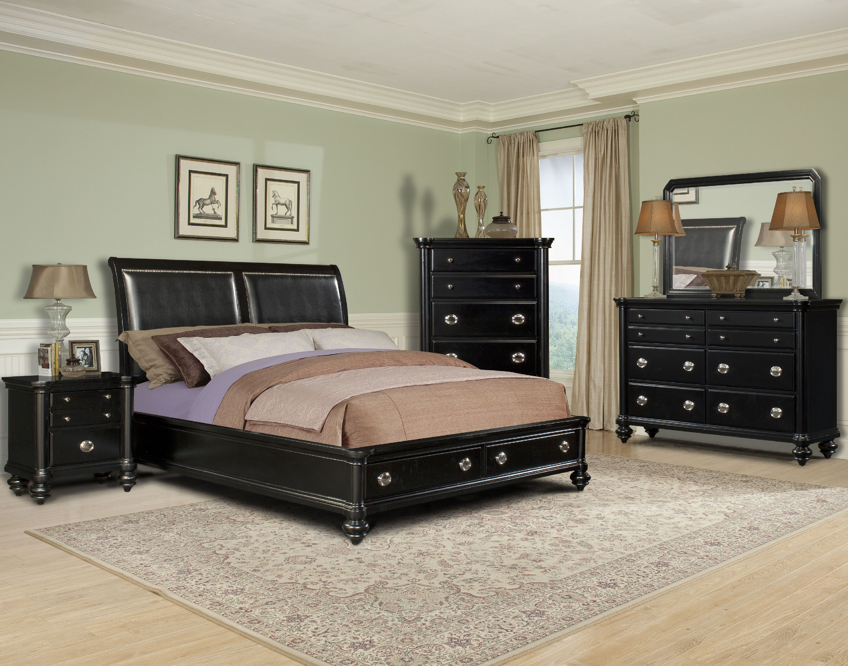 The danbury bedroom collection features rich black hues for Furniture of america danbury modern