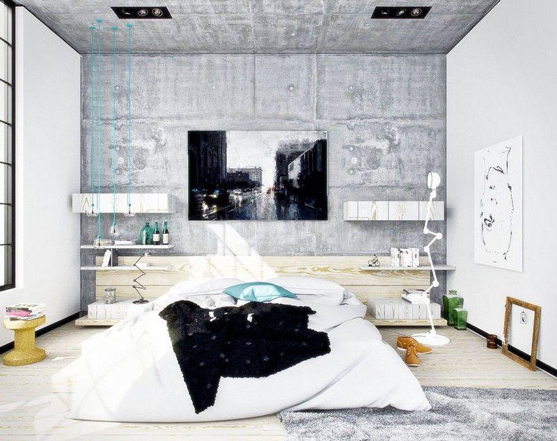 Schlafzimmer Ideen weiss-Sichtbeton-Wand-Industrie-Stil - ideen schlafzimmer wand