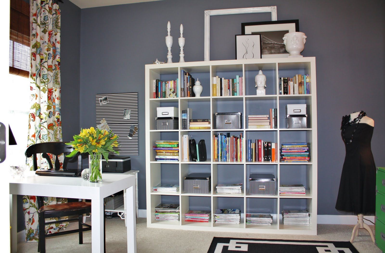 home office bookshelf. Emily A. Clark: My Home Office Makeover Paint Color Is Trout Gray By Benjamin Moore Bookshelf I