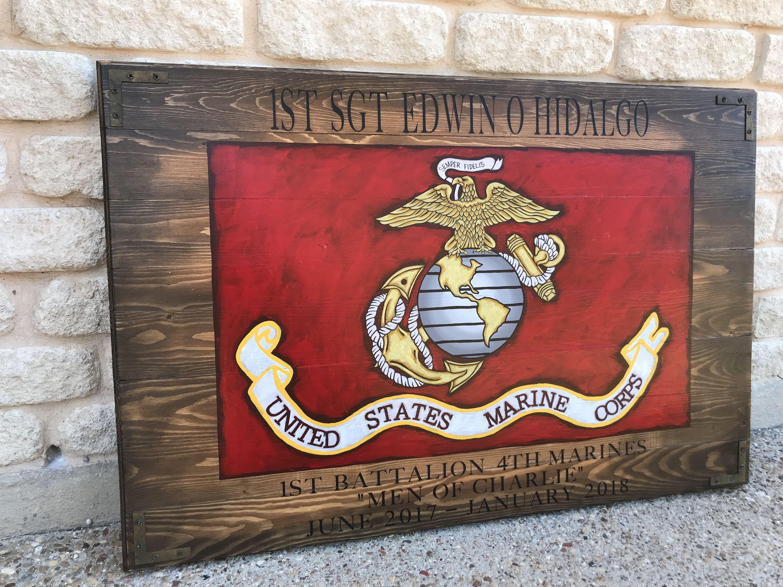 Usmc Man Cave Ideas : United states marine corps flag usmc military wall art rustic