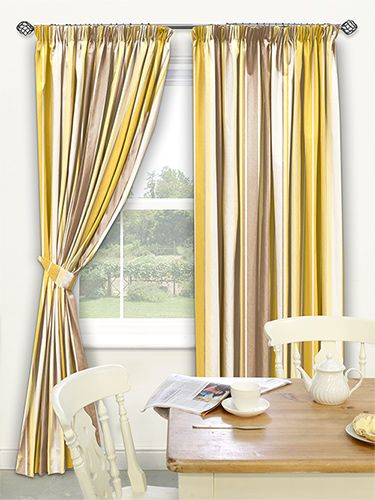 Candy Stripe Buttercup Curtains   Sunny And Smooth, This Gorgeous Striped  Curtain Features A Wonderful Blend Of Striking Yellow And Various Shades Of  Soft ...