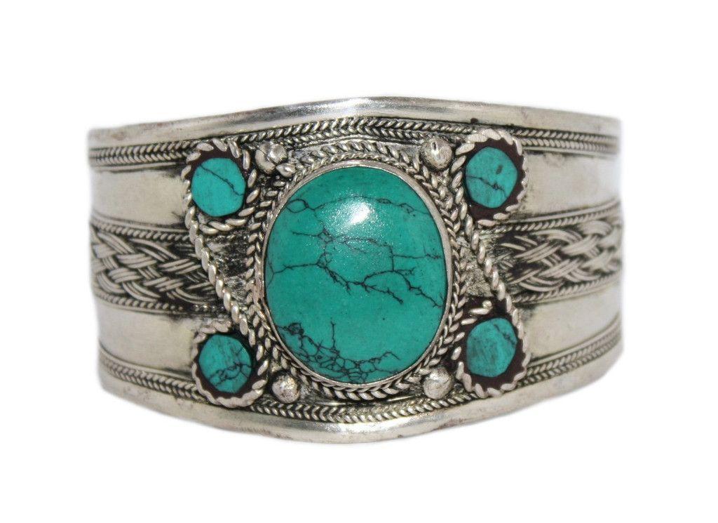 Coral Bracelet Turquoise Bracelet Silver Bracelet Tribal Bracelet Boho Gypsy