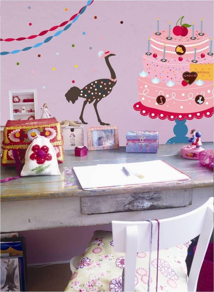 super grote taart Muur , Meubeldecoratie stickers. Het thema Feest is bij deze  super grote taart
