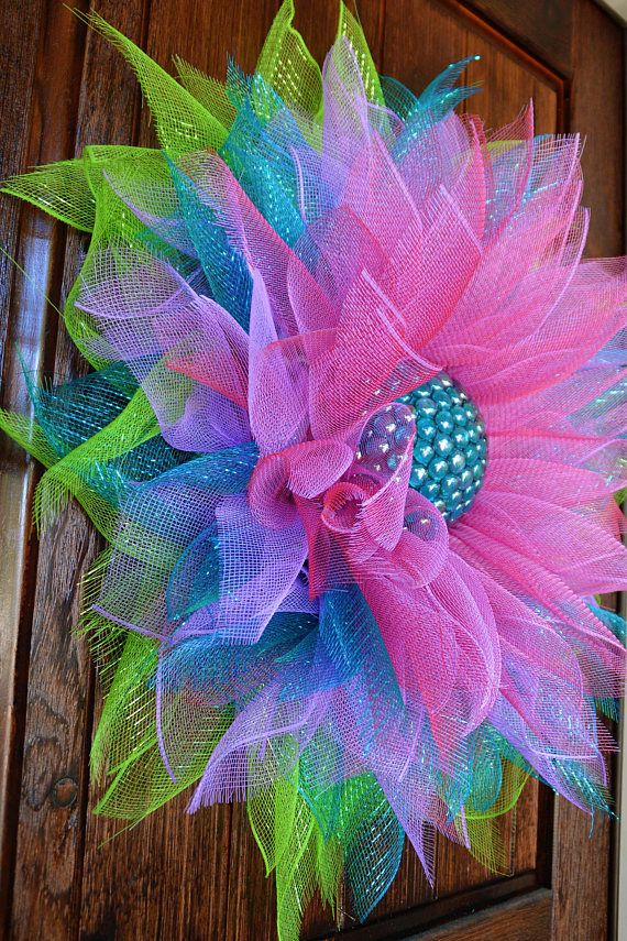 Items similar to Deco Mesh Flower Door Wreath, Wall & House Decor on Etsy