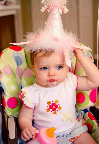 Those big baby blue eyes & that adorable birthday hat. So cute~