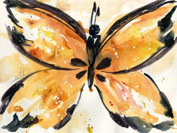Anaranjado de la mariposa monarca: Acuarela por KathyMortonStanion