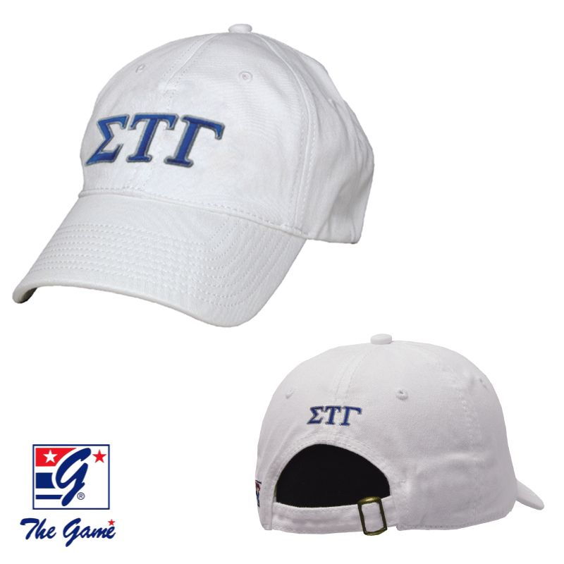 Sig Tau White Greek Letter Adjustable Hat by The Game®