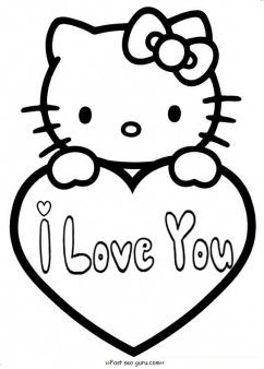 Free Printable Hello Kitty Valentines Day Coloring Pages For