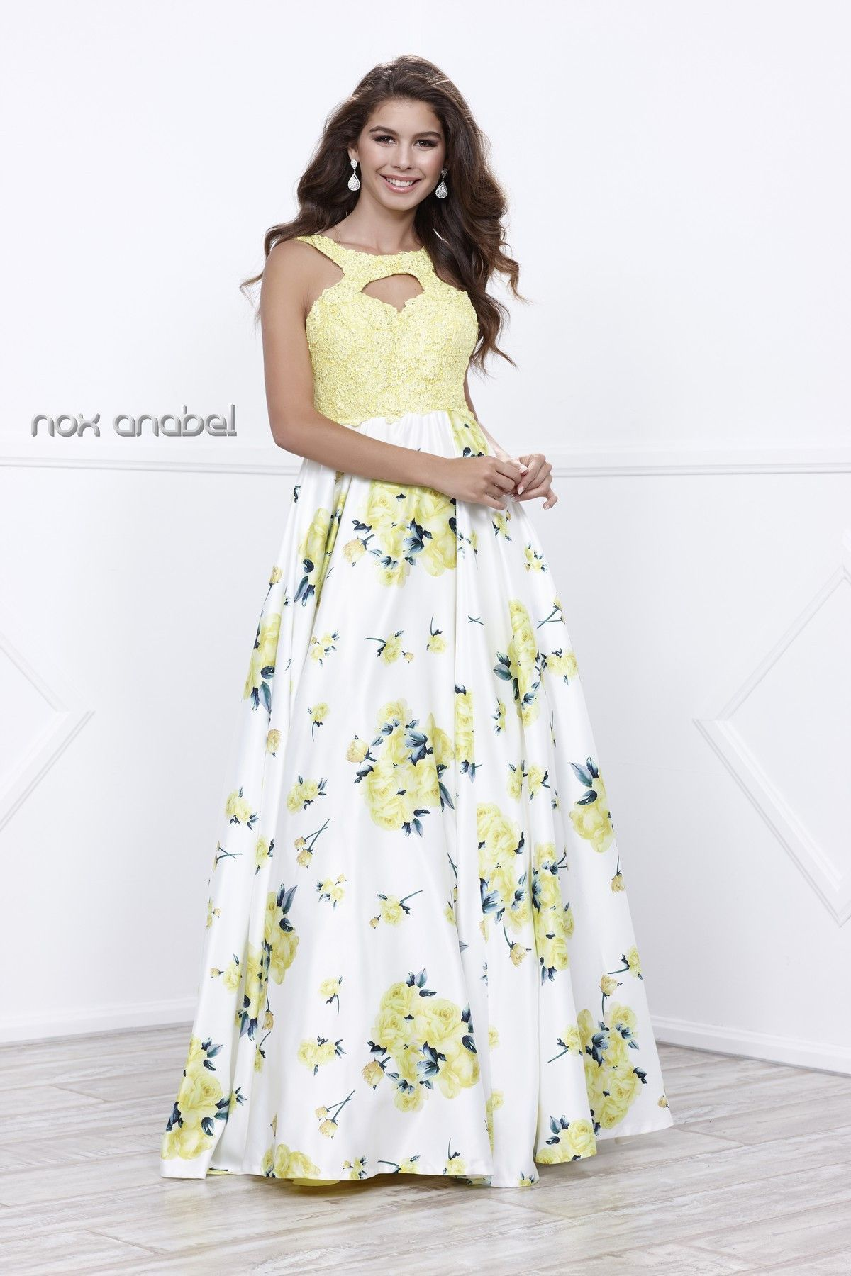 Sleeveless yellow floral print dress by nox anabel floral