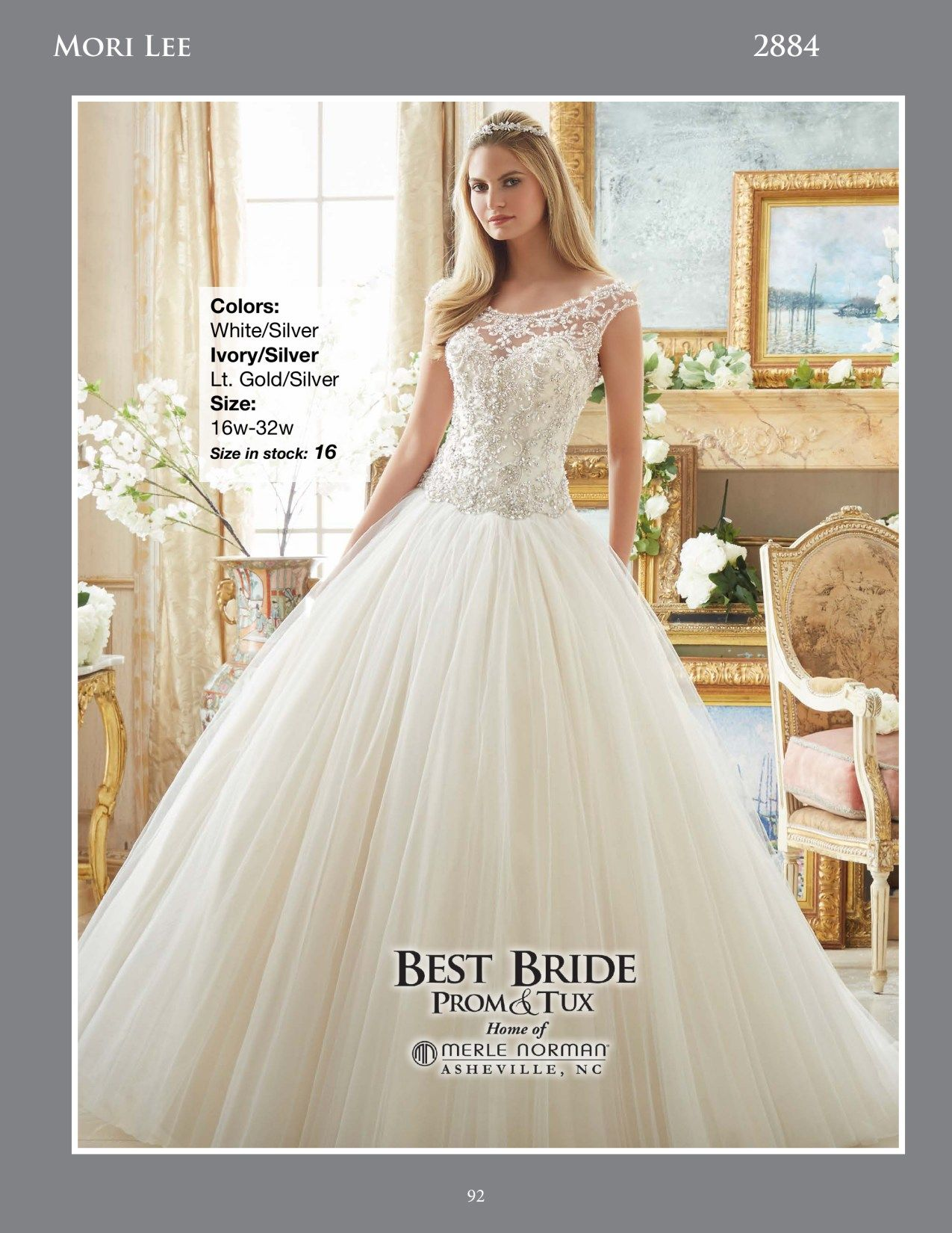 Ball gown wedding dress with sleeves  Crystal Beaded Embroidery on Tulle Ball Gown Wedding Dress Mori Lee