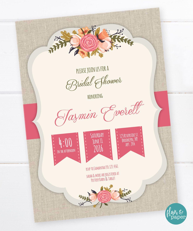 Bridal Shower Invitation, Linen background, Flowers, Shabby Chic ...