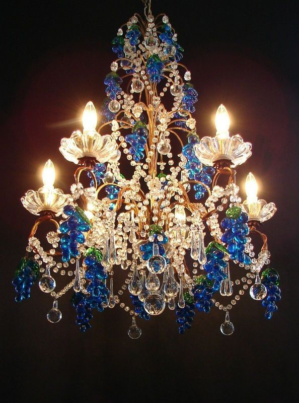 Vintage Exquisite Gilt Tole Beaded Crystal Chandelier Glass Fruit