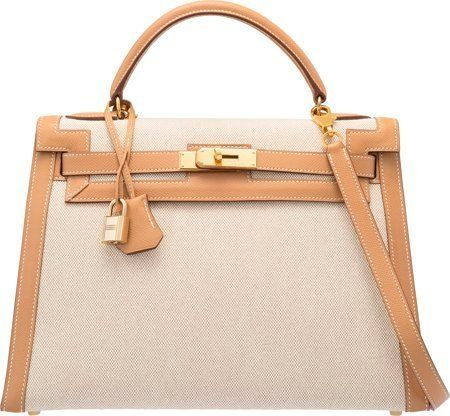 58378: Hermes 32cm Natural Courchevel Leather & Toile S