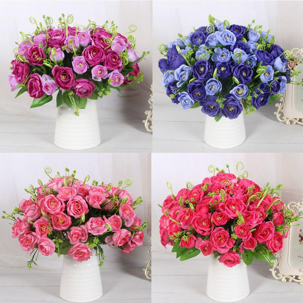 Home decor artificial flowers  NEW Pretty Delightful Pomegranate Rose Silk Artificial Flower For