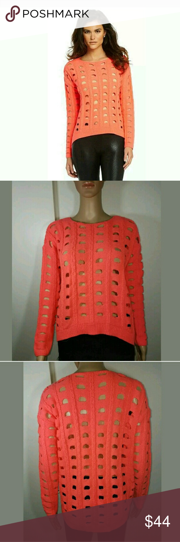 Gianni Bini Cut Out Neon Orange Sweater Cute sweater!!! 24 inches ...