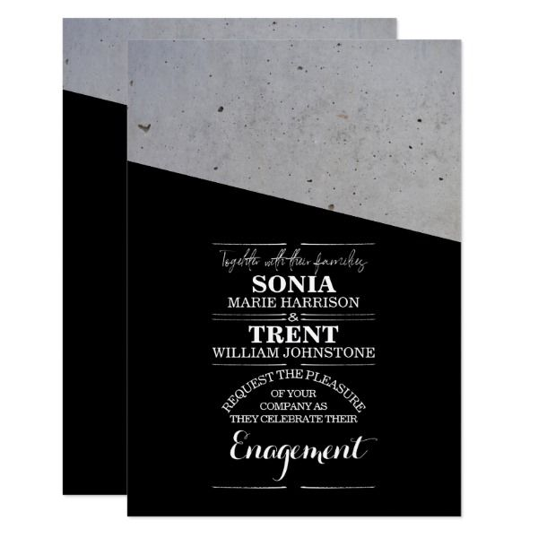 Modern Black And White Concrete Engagement Card Engagement
