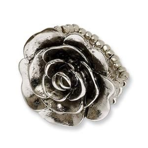 Silver-tone Antiqued Flower Stretch Ring