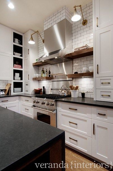 Brass Hardware White Cabinets Dark Counters Kitchen Inspirations Kitchen Design Veranda Interiors