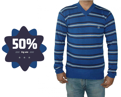 This dark blue v-neck sweater is perfectly fit for winter season. This sweater has strips of black and grey colour. We are so excited to announce biggest sale on warm and cozy sweaters. Get 50% flat discount on this sweater