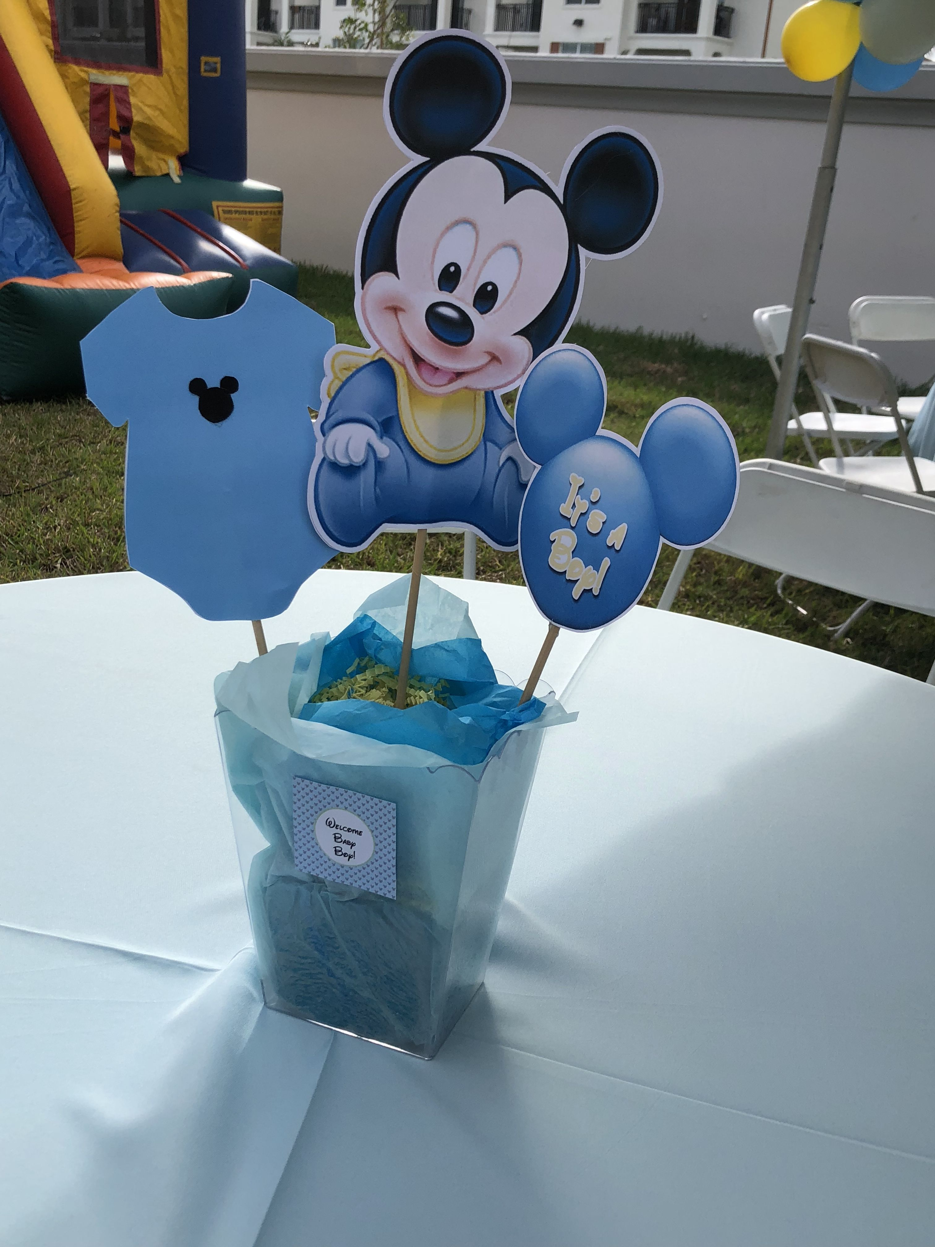 Mickey Mouse Baby Shower centerpiece Mickey Mouse Centerpiece, Mickey  Decorations, Diy Baby Shower Decorations