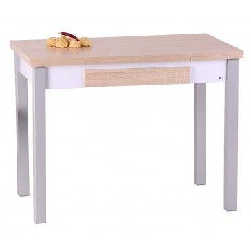 Mesa extensible SETA en blanco y plateado. 179€ conforama. De 1 m se ...