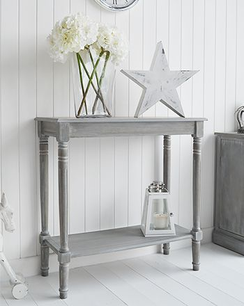 British Colonial Furniture Small Console Table with Shelf for