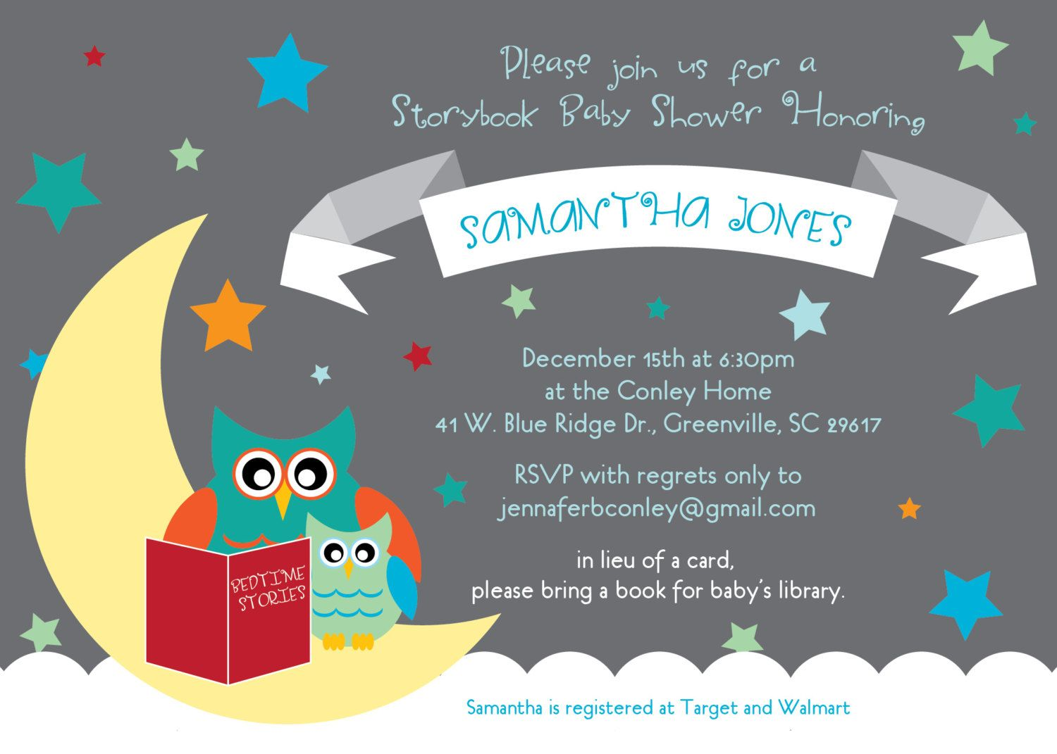 Baby Shower Invitations, Story Book Themed Mom And Baby Owl, Moon And Stars,