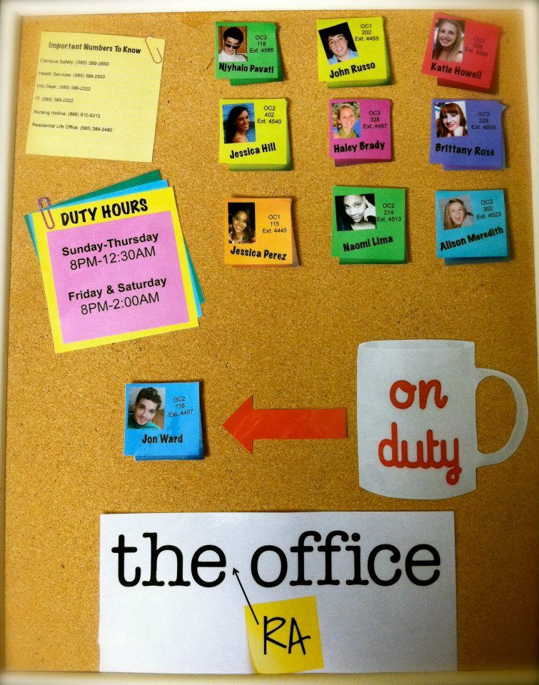 The (RA) Office Duty Board Things Of My Own Pinterest Board - Resident Assistant Job Description