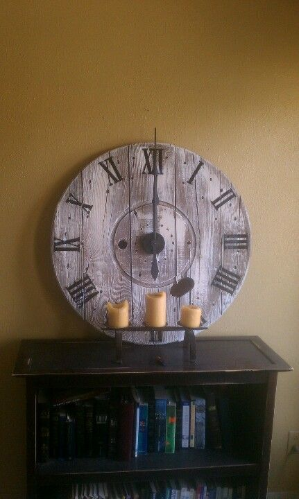 Clock Made Out Of End Of A Cable Spool In 2019 Wooden