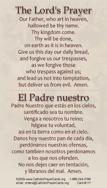 BILINGUAL* Our Father Prayer Card (English/Spanish) | Our ...