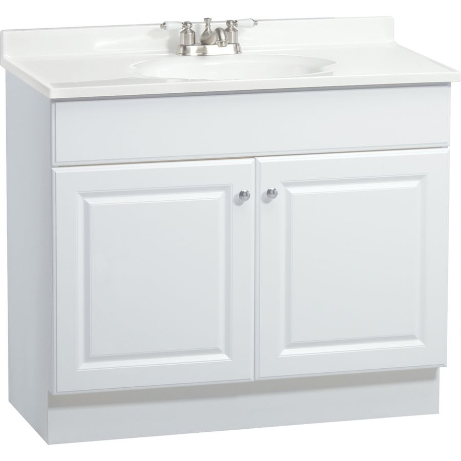 High Quality Shop Project Source White Integral Single Sink Bathroom Vanity With  Cultured Marble Top (Common: