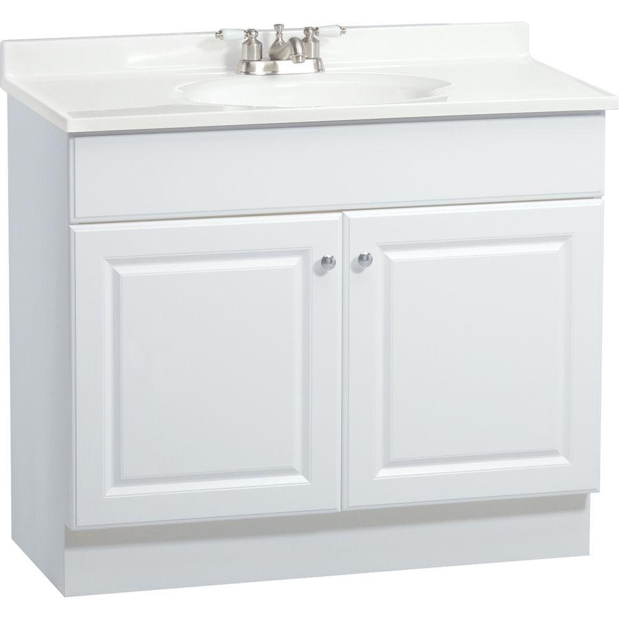 Shop Project Source White Integral Single Sink Bathroom Vanity Beauteous Shop Bathroom Vanities Review