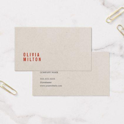 Minimalist Elegant Paper Texture Red Consultant Business Card