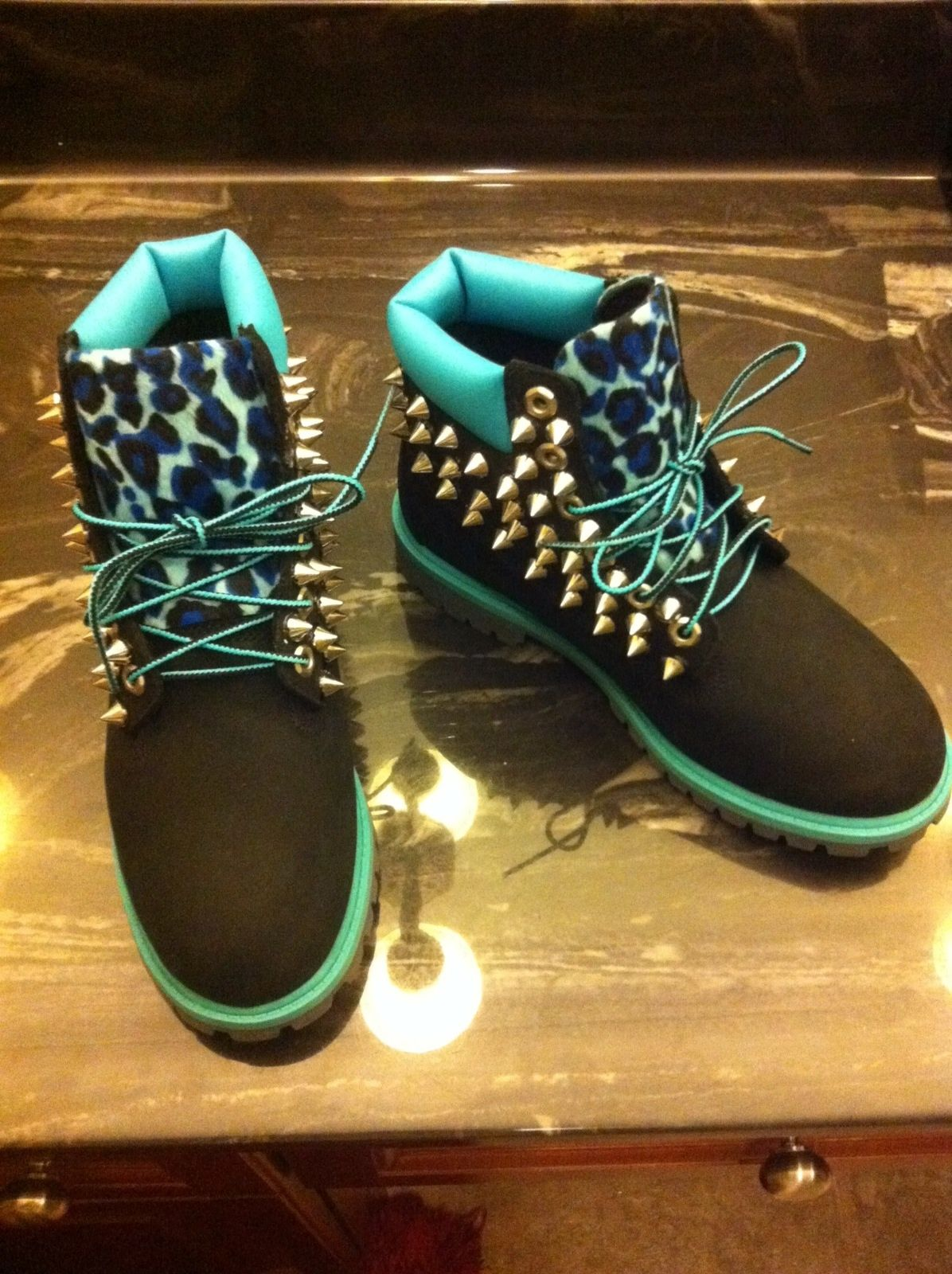 fbfa67b69241 TURQUOISE BLACK LEOPARD SPIKED TIMBERLAND (JUNIOR SIZES 3.5-7) from  Bscllybangin12 on Storenvy