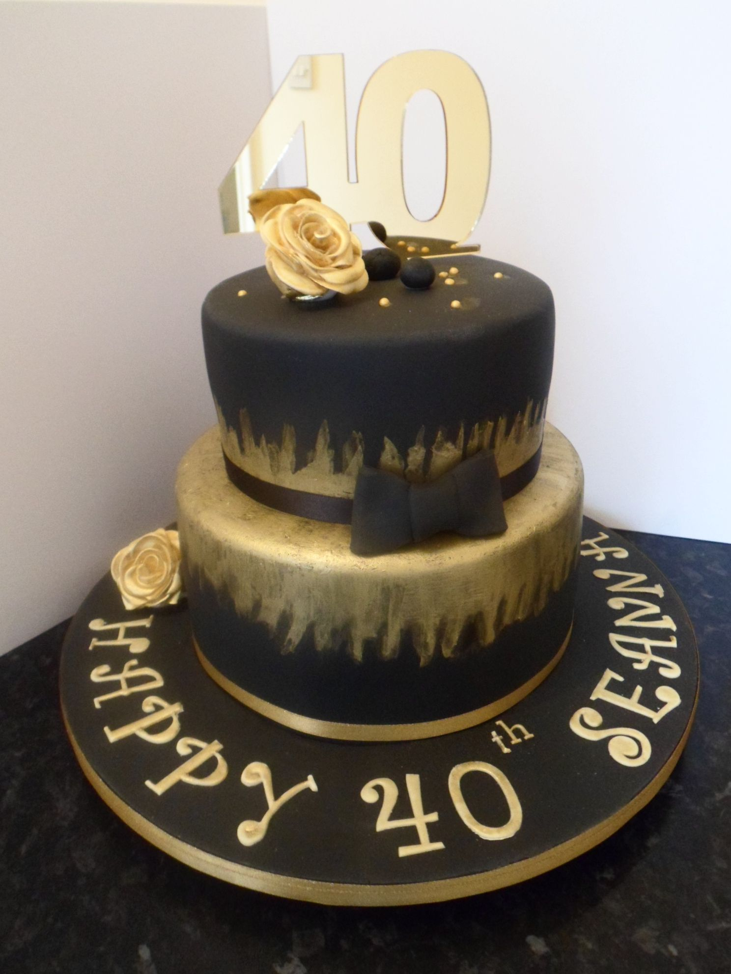 Terrific Black And Gold Themed Cake Perfect For Other Birthday Celebrations Funny Birthday Cards Online Overcheapnameinfo