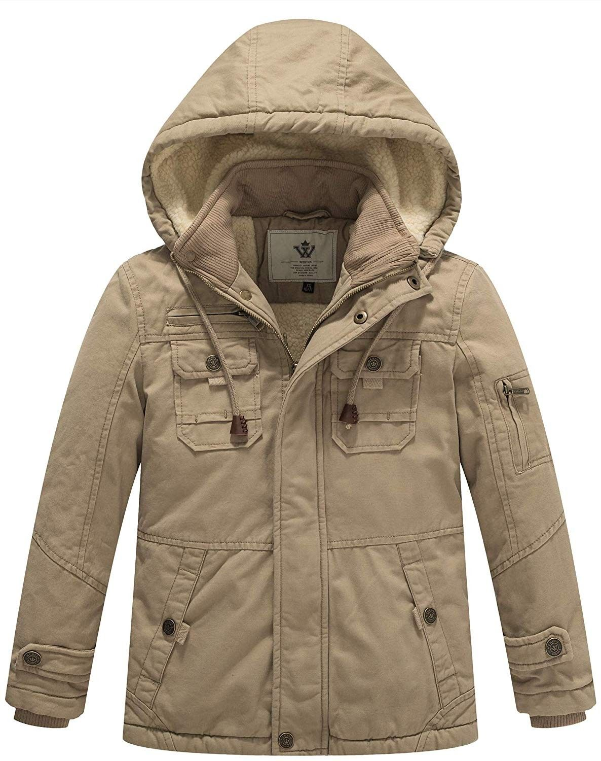 Boy S And Girl S Cotton Heavy Twill Hooded Jacket Khaki Ca18cg8t932 Hooded Jacket Jackets Cotton Twill Jacket [ 1500 x 1186 Pixel ]
